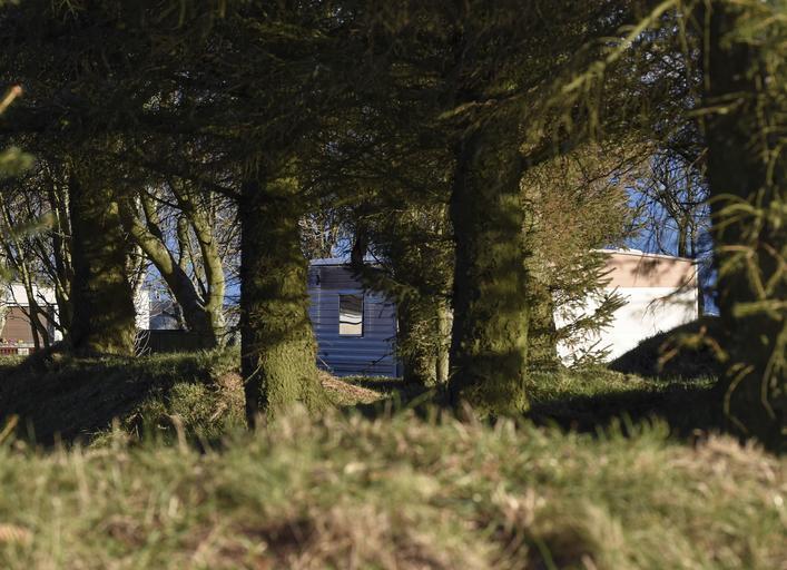 Mobilný dom zaparkovaný za vysokou trávou a stromami.jpg