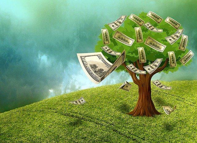 Listnatý strom, z ktorého odlietavajú papierové bankovky.jpg